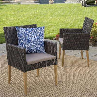 Gabriel Stationary Wicker Outdoor Dining Chair with Mocha Cushion (2-Pack)