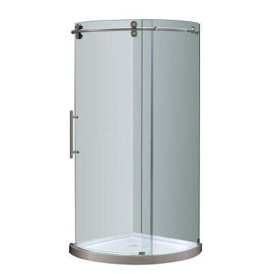 Orbitus 36 in. x 77-1/2 in. Frameless Round Shower Left Opening Enclosure in Stainless Steel with Base