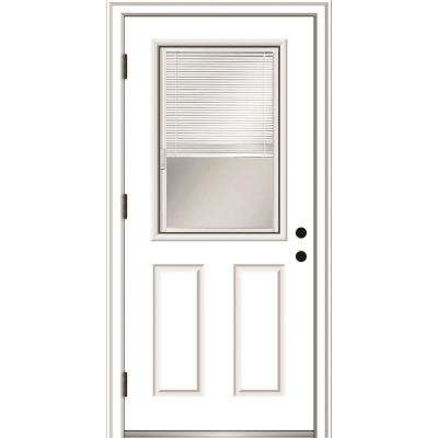 30 In X 80 In Internal Blinds Right Hand Outswing 12 Lite Clear Primed Steel Prehung Front Door With Brickmould