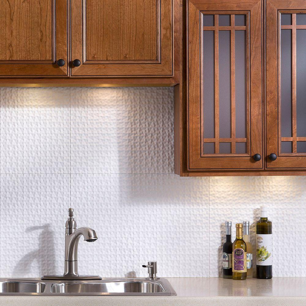 24 in. x 18 in. Terrain PVC Decorative Tile Backsplash in Matte White