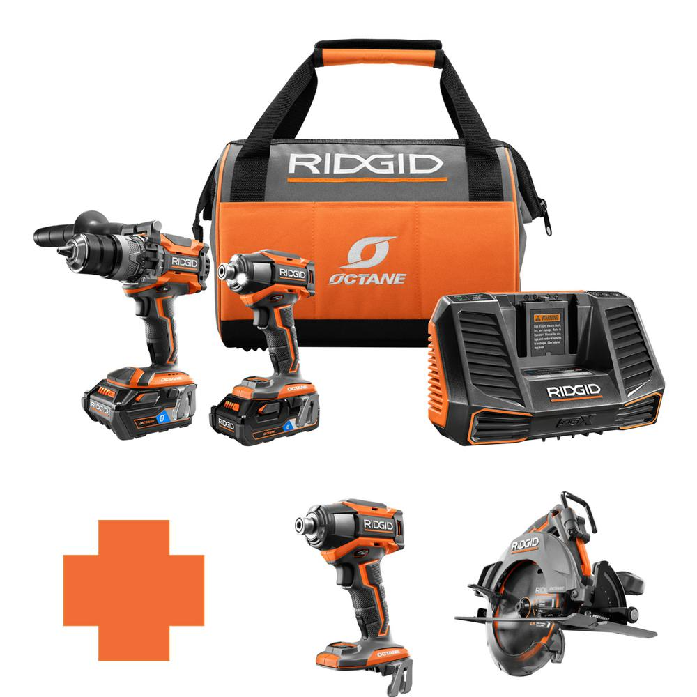 RIDGID 18-Volt OCTANE Lithium-Ion Cordless Brushless Combo Kit w/Bonus 7 1/4 in. Circ Saw & 6-Mode 1/4 in. Impact Driver