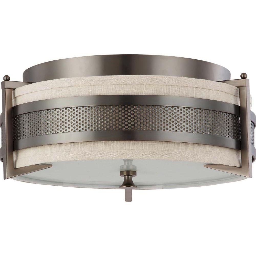 3-Light Hazel Bronze Incandescent Ceiling Flushmount