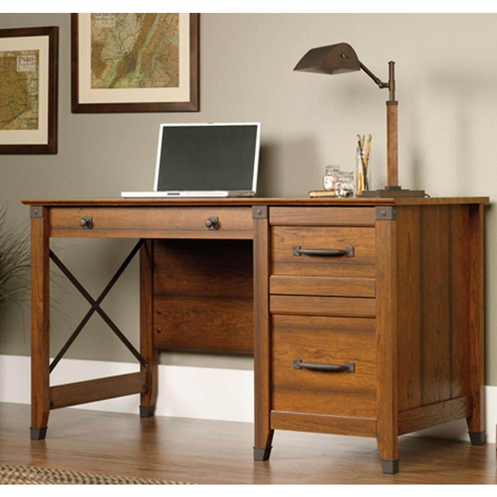 Home Office Desk Furniture large townser home office desk with hutch rollover Sauder Carson Washington Cherry Desk