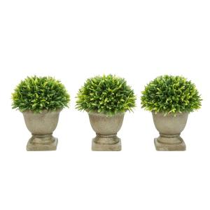7.5 in. Artificial Podocarpus Grass Plant in Concrete Pot (Set of 3)