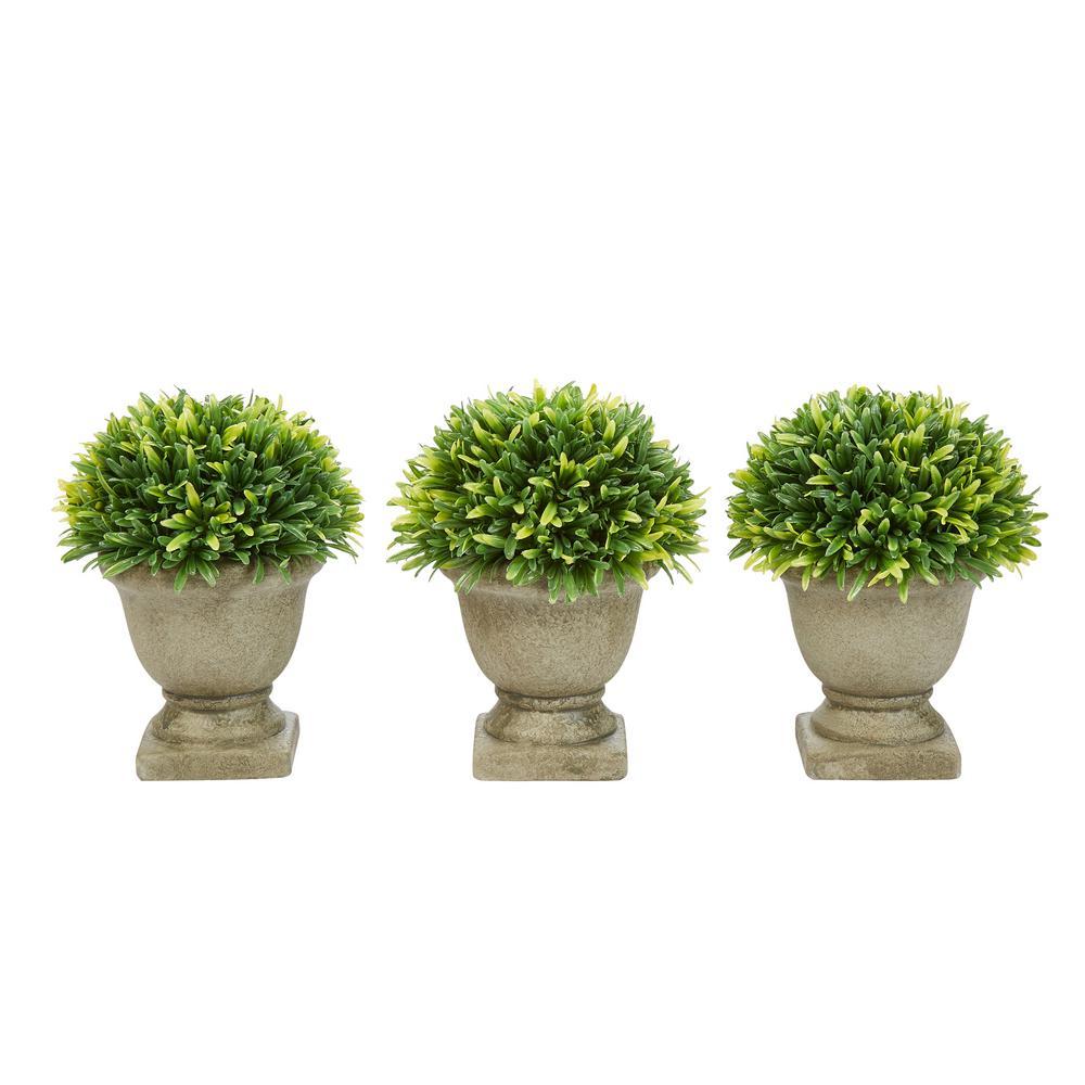 7.5 in. Artificial Podocarpus Grass Plant in Concrete Pot (Set of 3)
