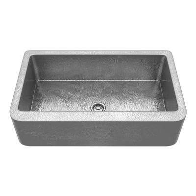 Starboard Farmhouse Handmade Copper 36 in. Single Bowl Kitchen Sink in Hammered Nickel