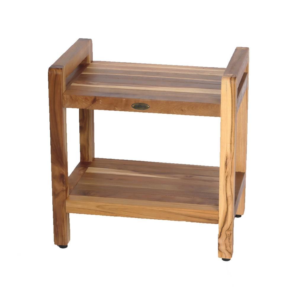 EarthyTeak Classic 18 in. Shower Bench with Shelf And LiftAide Arms