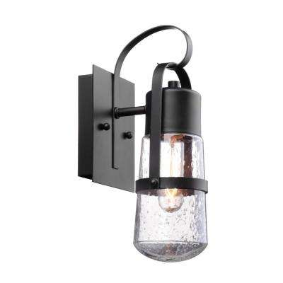 Helm 1-Light Matte Black Outdoor Wall Mount Sconce