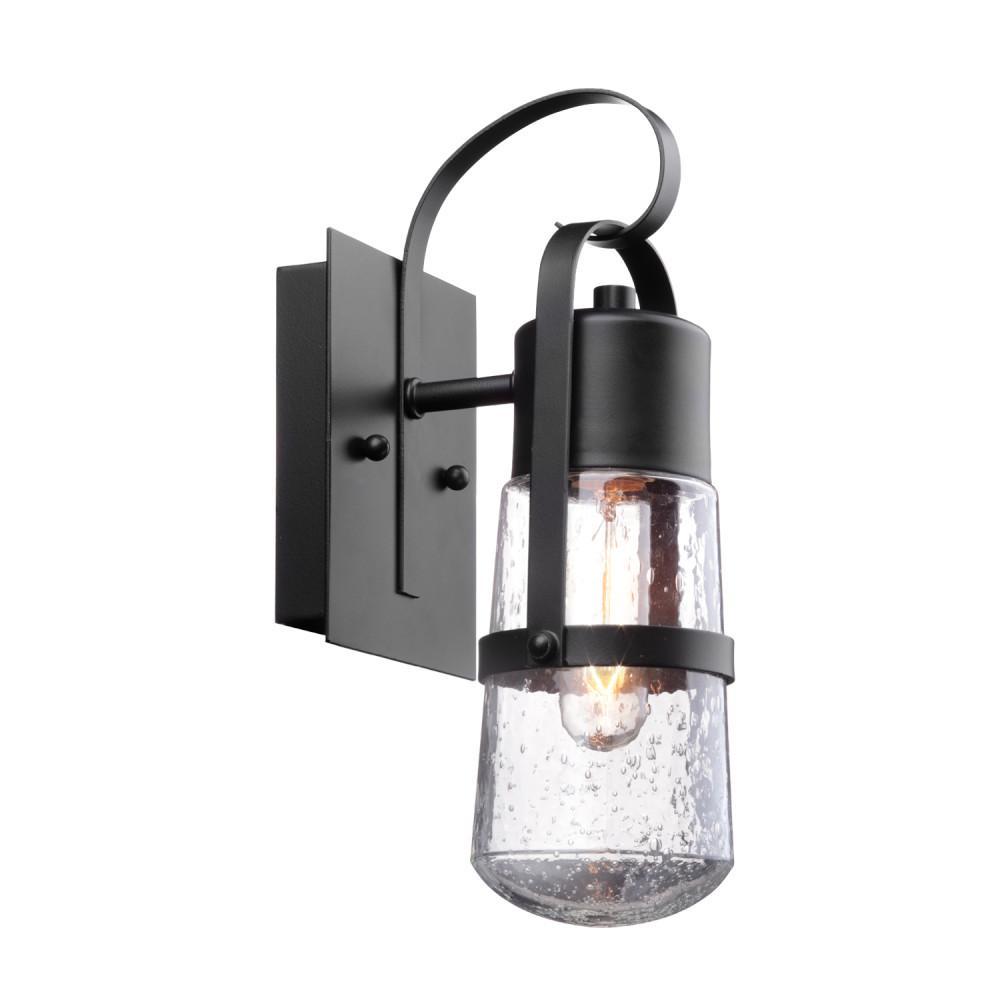 Helm 1-Light Matte Black Outdoor Wall Lantern Sconce