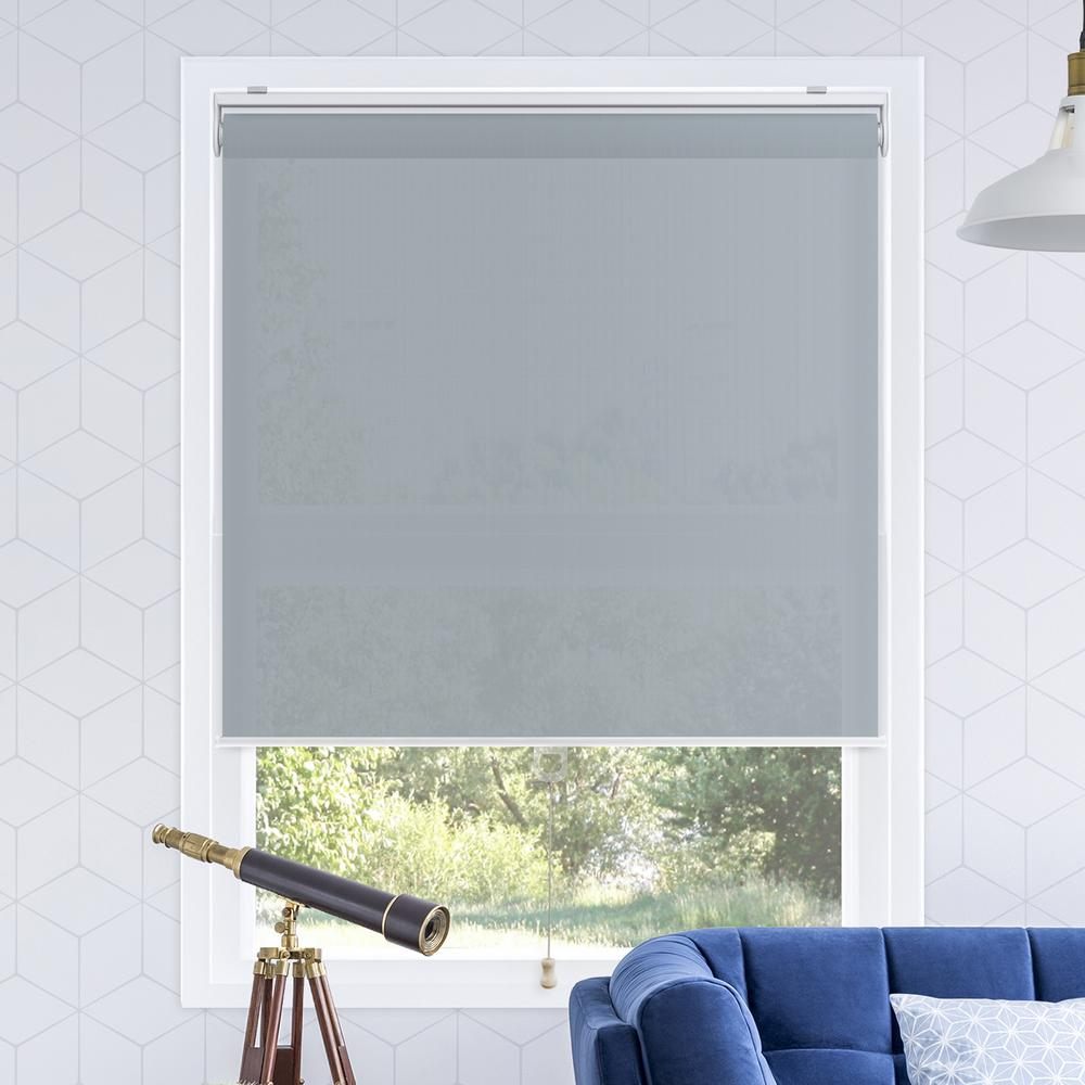 window roller shades blue snapnglide urban dark blue polyester cordless horizontal roller shades 23 the home depot