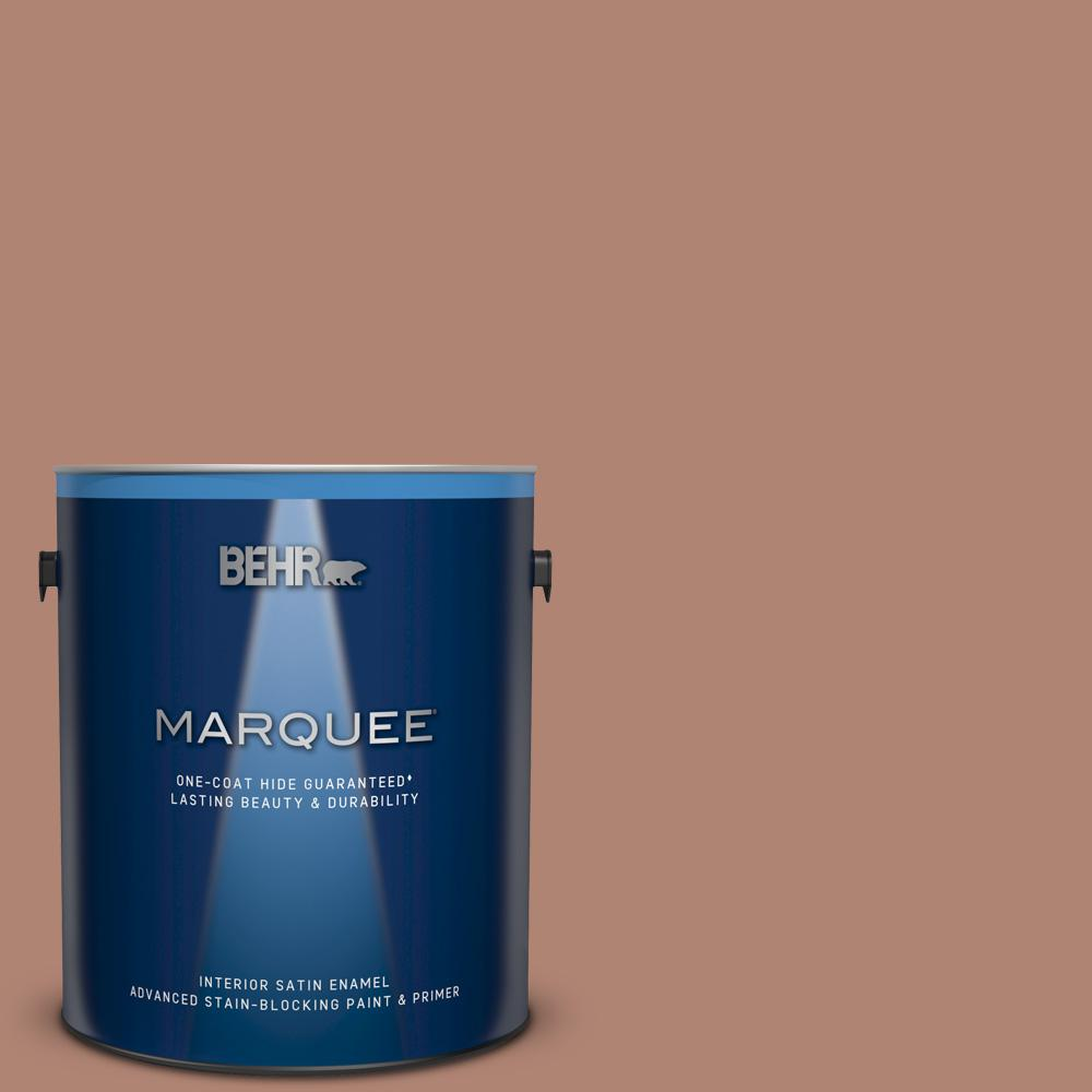 BEHR MARQUEE 1 gal. #220F-5 Light Mocha Satin Enamel Interior Paint and Primer in One