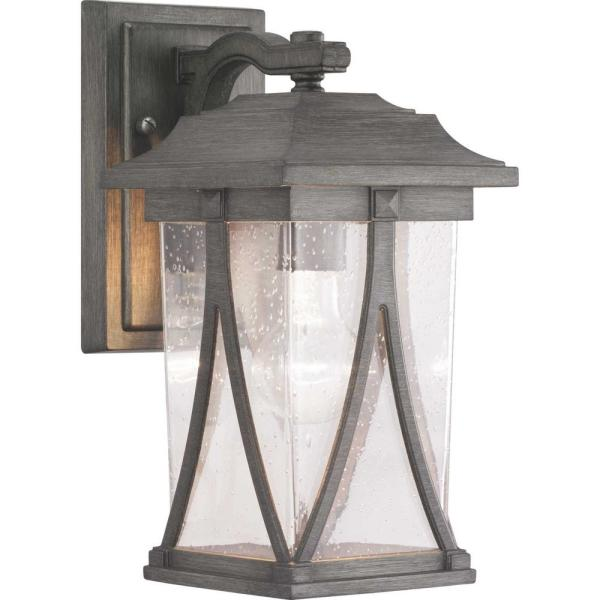Abbott Collection 1-Light Antique Pewter Outdoor Wall Lantern Sconce