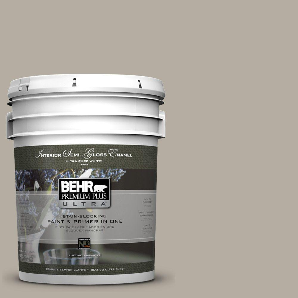 BEHR Premium Plus Ultra 5 gal. #PPU18-13 Perfect Taupe Semi-Gloss Enamel Interior Paint and Primer in One