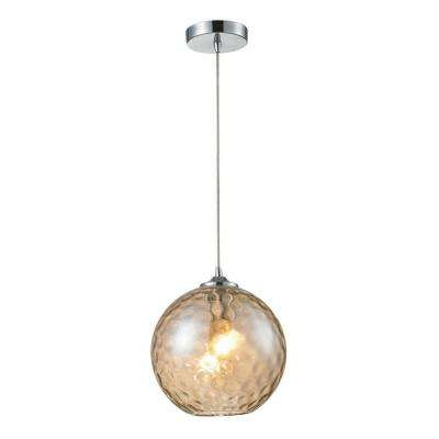1-Light Polished Chrome Glass Pendant with Champagne Glass