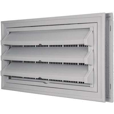 9-3/8 in. x 17-1/2 in. Foundation Vent Kit with Trim Ring and Optional Fixed Louvers (Galvanized Screen) in #016 Gray