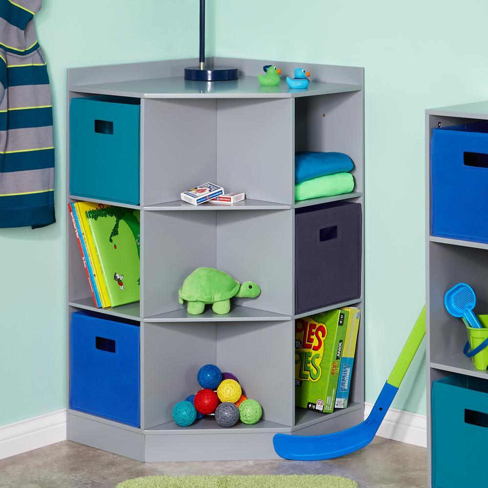 6-Cubby, 3-Shelf Corner Cabinet in Gray