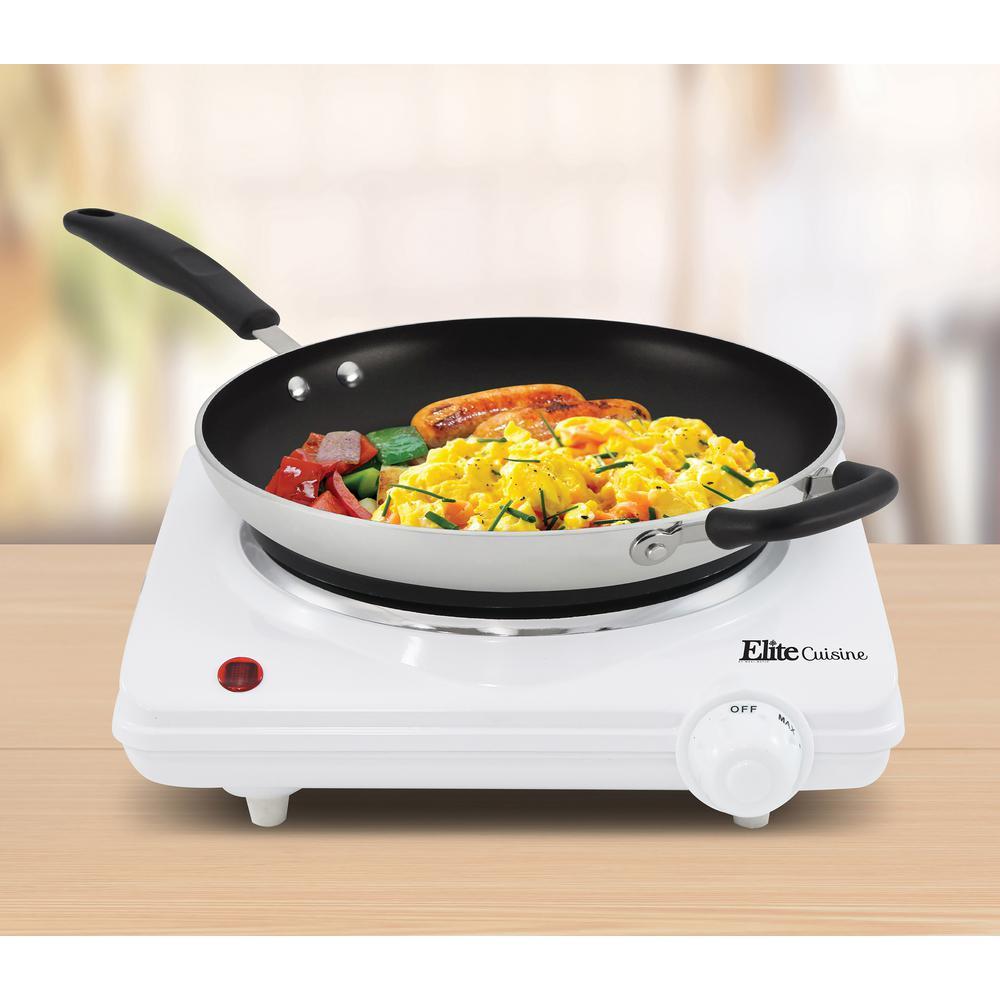 Elite-Cuisine Single Burner 6 in. Black Hot Plate with Temperature Control