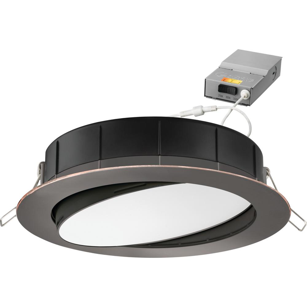 Lithonia Lighting 6 in. Selectable Color Temperature New Construction or Remodel Recessed Integrated LED Gimbal Kit Oil Rubbed Bronze