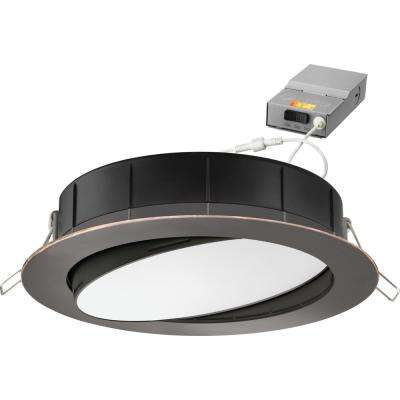 6 in. Selectable Color Temperature New Construction or Remodel Recessed Integrated LED Gimbal Kit Oil Rubbed Bronze