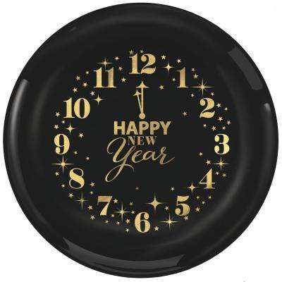 New Year's 6 in. Small Plastic Clocks Plates (16-Count, 2-Pack)