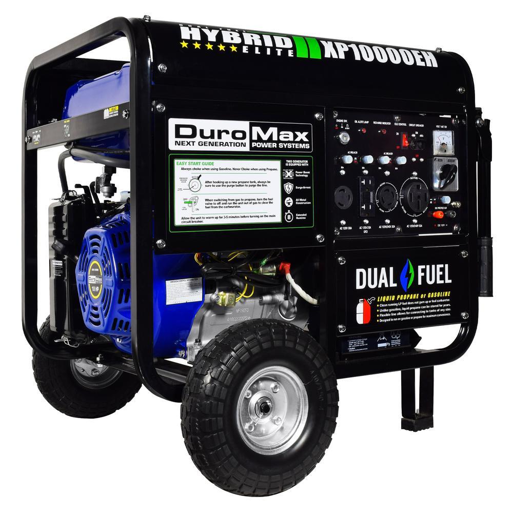 Duromax 10,000/8,000-Watt Dual Fuel Powered Electric Start Portable Generator