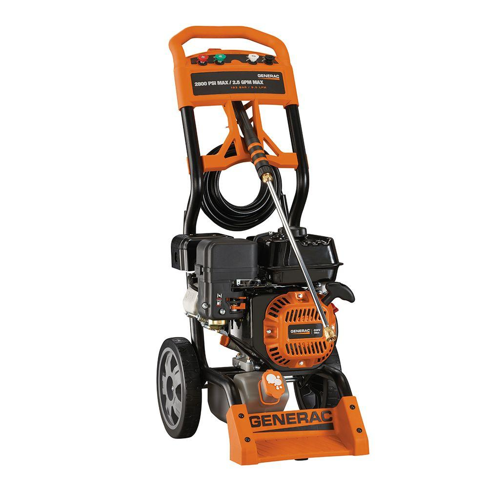 Generac 2,800 PSI 2.5 GPM OHV Engine Axial Cam Pump Gas Powered Pressure Washer - California Compliant