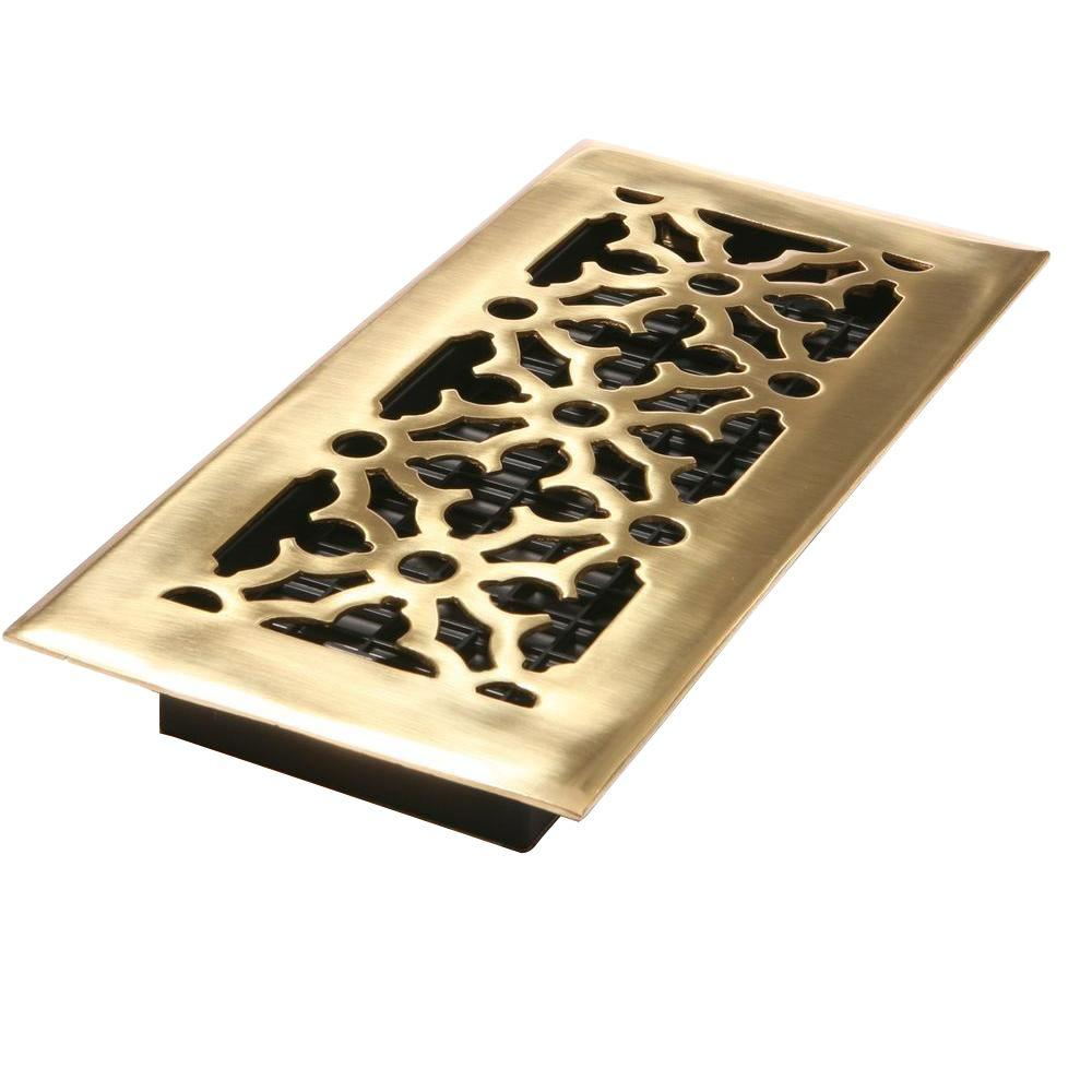 Decor Grates 4 in. x 12 in. Gothic Bright Solid Brass Register