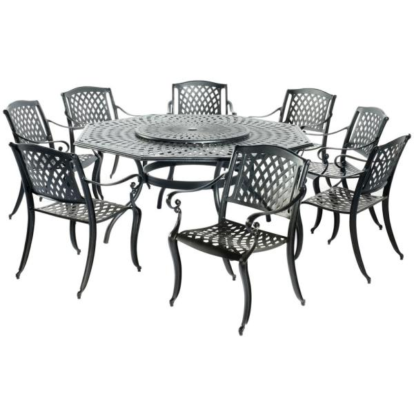 Alfresco 9 Piece Westbury Cast Aluminum Outdoor Dining Set With 71 In Table Lazy Susan And 8 Stackable Arm Chairs In Black 56 3008 The Home Depot