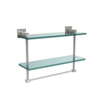 Montero 16 in. L  x 11-3/4 in. H  x 5-3/4 in. W 2-Tier Clear Glass Bathroom Shelf with Towel Bar in Polished Chrome