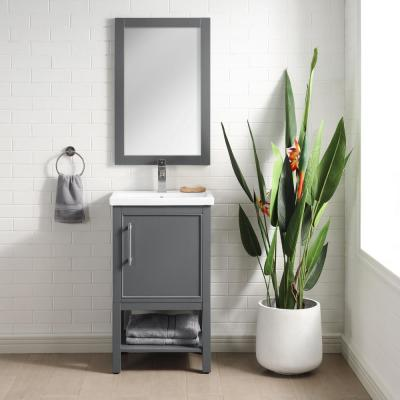 Taylor 20 in. W x 15 in. D x 34 in. H Bath Vanity in Dark Gray with Ceramic Vanity Top in White with White Basin