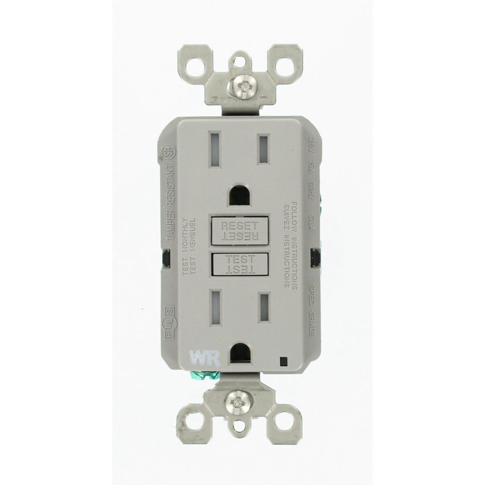 Leviton 15 Amp 125-Volt Duplex Self-Test Tamper Resistant/Weather ...