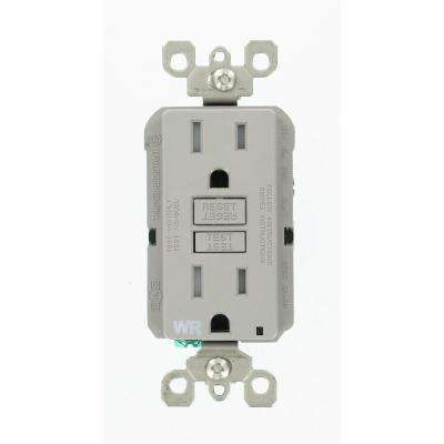 15 Amp 125-Volt Duplex Self-Test Tamper Resistant/Weather Resistant GFCI Outlet, Gray