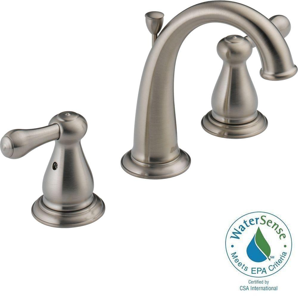 Delta Leland 8 In. Widespread 2-Handle High-Arc Bathroom Faucet In Stainless-3575-SSMPU-DST