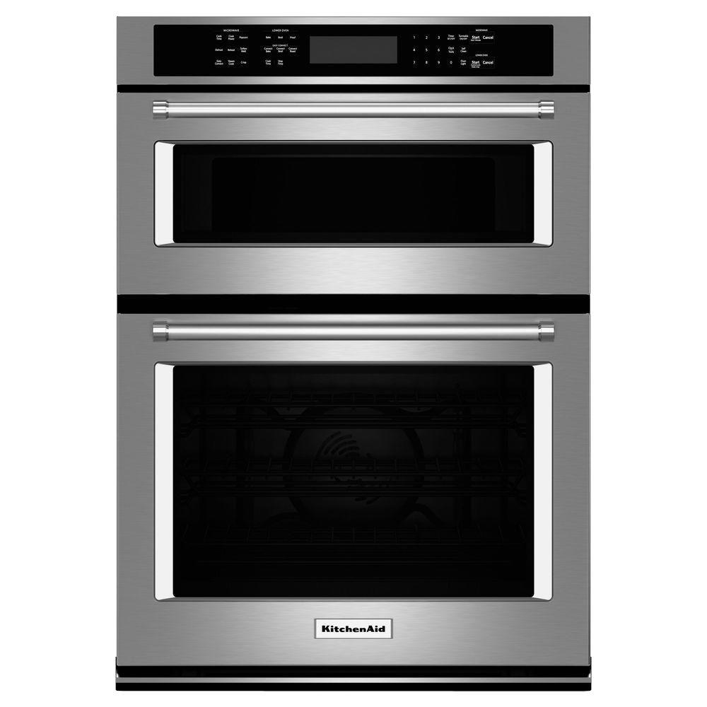 KitchenAid 27 in. Electric Even-Heat True Convection Wall Oven with Built-In Microwave in Stainless Steel
