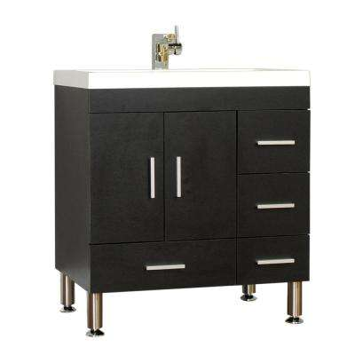Ripley 29.37 in. W x 18.75 in. D x 32.87 in. H Vanity in Black with Acrylic Vanity Top in White with White Basin