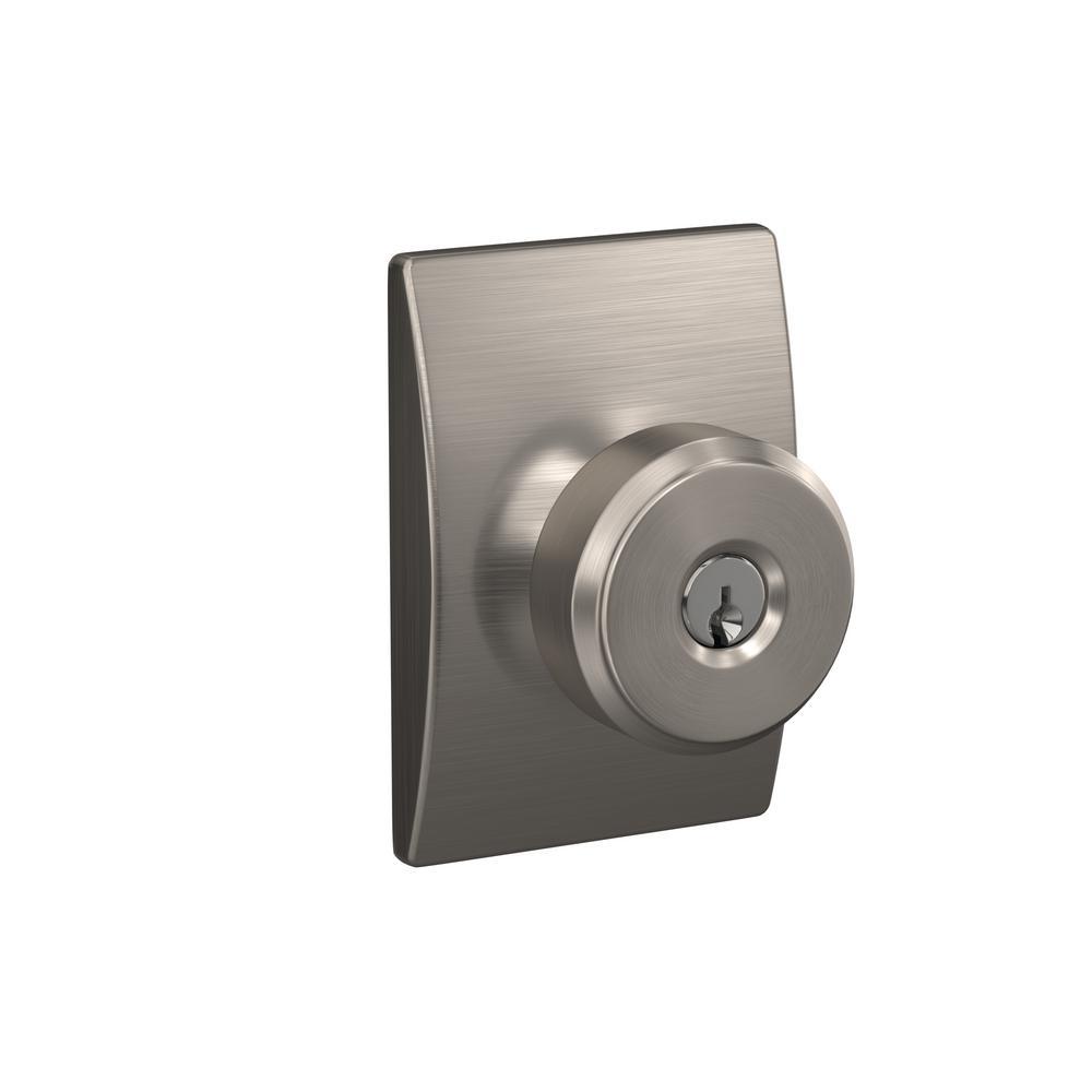 Custom Bowery Satin Nickel Century Trim Keyed Entry Door Knob