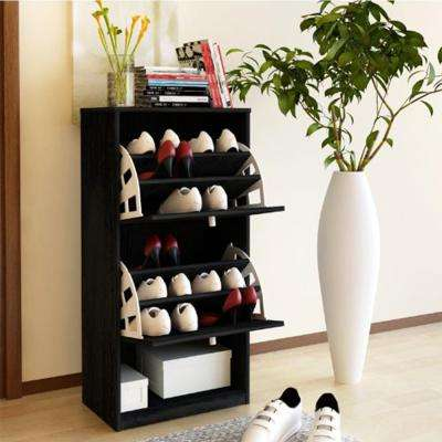 BandW Black Shoe Storage Cabinet