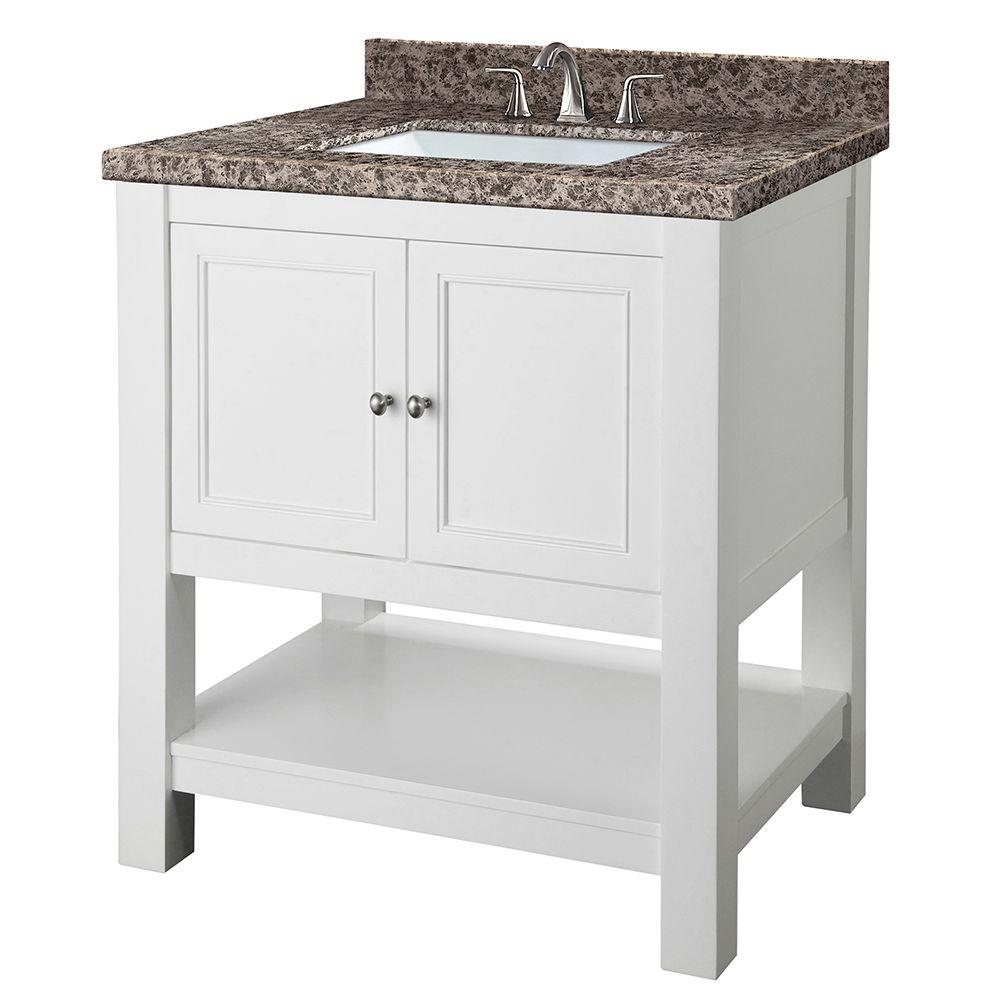 Home Decorators Collection Gazette 30 in. W x 22 in. D Vanity in White with Granite Vanity Top in Sircolo and White Sink was $749.0 now $524.3 (30.0% off)