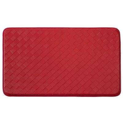 Chef Gear Diamond Weave Faux-Leather Red 24 in. x 36 in. PVC Anti-Fatigue Kitchen Mat
