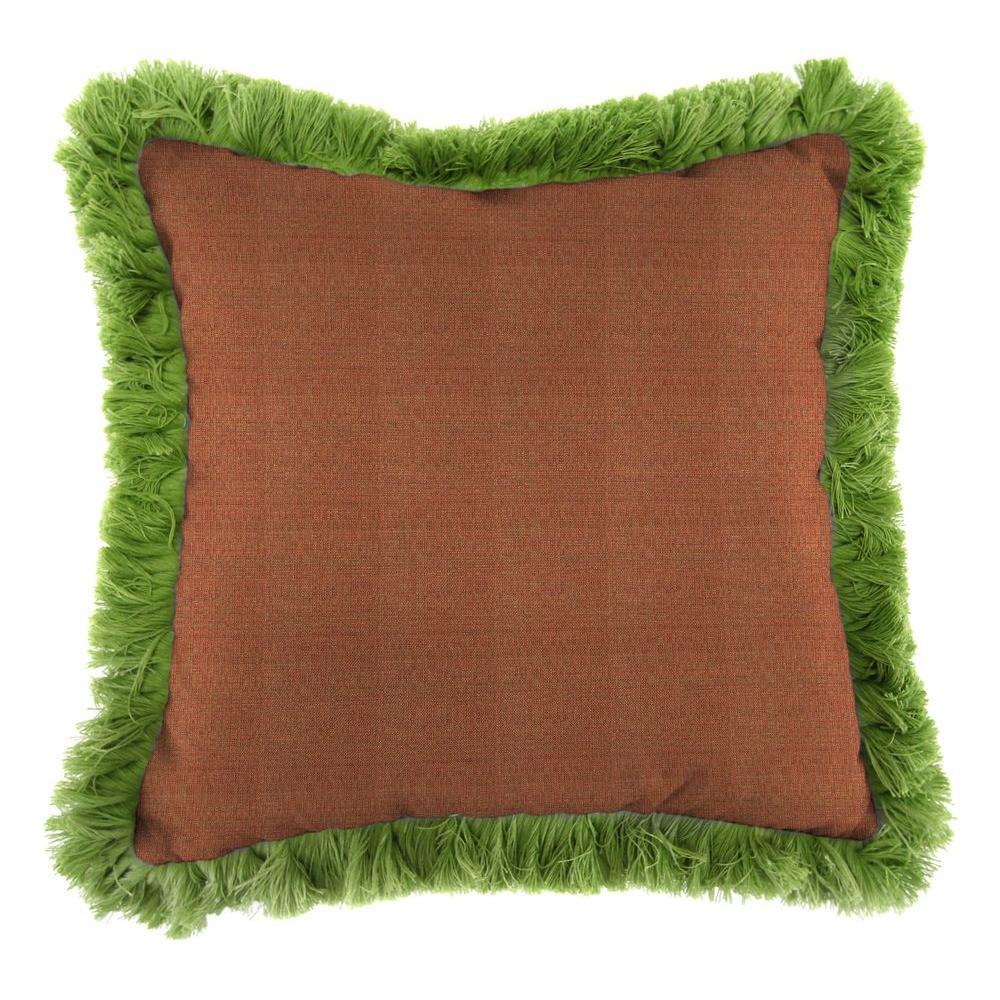 Jordan Manufacturing Sunbrella Linen Chili Square Outdoor Throw Pillow with Gingko Fringe
