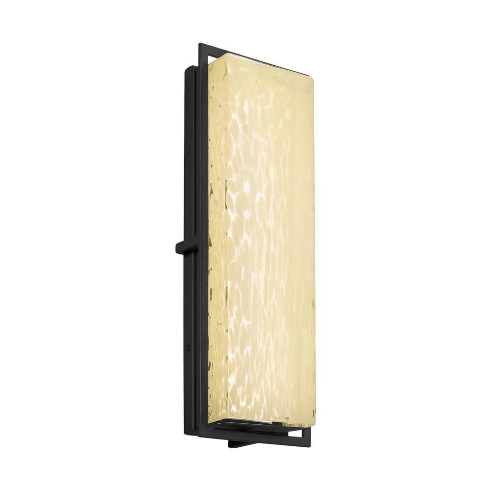 Justice Design Fusion Avalon Matte Black Integrated LED Outdoor Wall Lantern Sconce with Droplet Shade