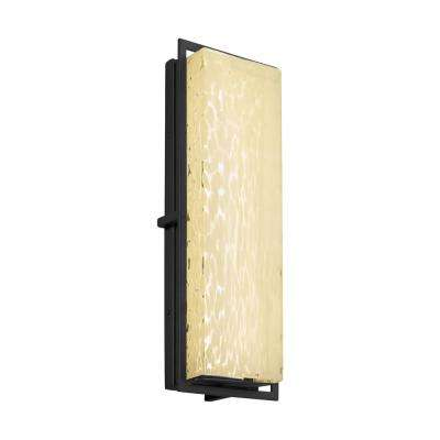 Fusion Avalon Matte Black Integrated LED Outdoor Wall Lantern Sconce with Droplet Shade