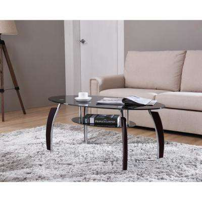 Oval Tempered Glass 2-Tier Coffee Table with Wooden Legs in Black