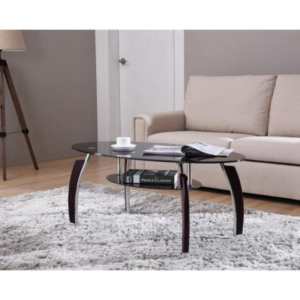 Oval Tempered Gl 2 Tier Coffee Table With Wooden Legs In Black
