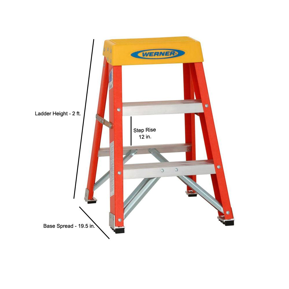 Werner 2 Ft Fiberglass Step Ladder With 300 Lb Load Capacity Type Ia Duty Rating 6202 The Home Depot