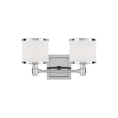 Winter Park 14 in. 2-Light Chrome Vanity Light with White Opal Etched Glass Shades