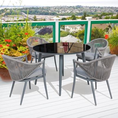 5-Piece Aluminum Woven-Rope Outdoor Dining Set with Grey Cushions