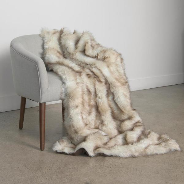 Best Home Fashion Champagne Fox Faux Fur Throw 54 In X 36 The Depot