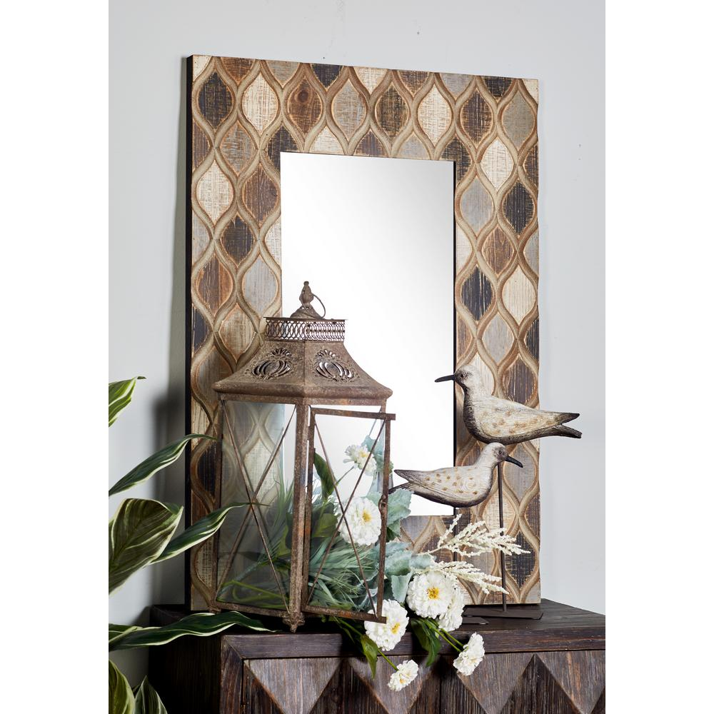 Rectangular Distressed Gray and Brown Decorative Wall Mirror with Geometric