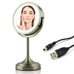 Small Nickel Brushed Lighted Mirror (13.2 in. H x 4.7 in. W), Rechargeable or USB Cable Operated, 1x, 7x Magnification